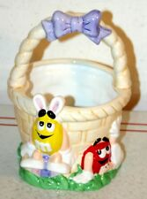 Collectible M&M's Candy Porcelain Ceramic Basket - Easter Basket Candy Bowl