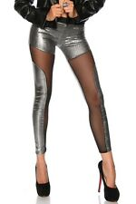 NEW SILVER PUNK EMO ALTERNATIVE CUT OUT MESH FULL LENGTH LEGGINGS - UK SELLER