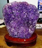 AMETHYST CRYSTAL CLUSTER  CATHEDRAL GEODE FROM BRAZIL W/ WOOD STAND