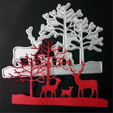 Stanzschablone 2 Bäume 3 Elch Weihnachten Oster Hochzeit Party Karte Album Deko