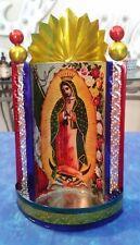 Virgen de Guadalupe Chapel Virgin Mary Handmade Painted Tin Art 7x3.5x2.5 of 15
