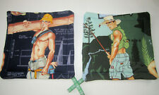 """Sexy Men Quilted Pot Holder / Hot Pad Set of 2 Double Insulated Gay Interest 8"""""""