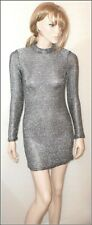 TopShop Chainmail Silver Bodycon Long Sleeve Dress size UK 8/10 EUR 36/38