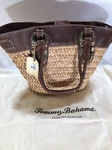 Tommy Bahama Tahiti Weave Beach Tote Bag Tan Brown Leather $295 MSRP