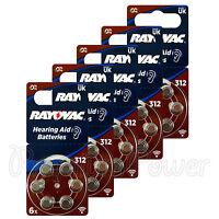 Rayovac Hearing Aid 312 Size Special batteries Zinc air Mercury free x 60 cells
