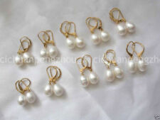 Freshwater Pearl Leverback Earrings 0200 Wholesale 10 Pairs Natural 8-9Mm White