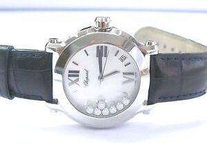 Chopard Happy Sport Round White MOP Diamond Dial Ladies Watch 36mm 4875