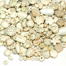NGL2581 Assorted Shape Mix White Turquoise Magnesite 100-Grams (130 Beads)