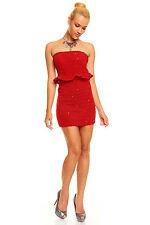 Structured Bandeau with Glittering Sequins Night Club Party Mini Dress Red