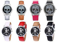 Ladies Women Fashion Skull Skeleton Gothic Punk Rock Watch PU Leather Gift UK