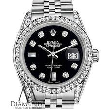 Ladies Black Rolex 26mm Datejust Steel SS Jubilee Bracelet Custom Diamonds