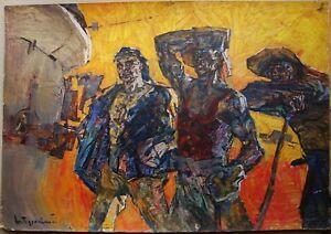 Russian Ukrainian Soviet Oil Painting cubism realism steelmakers working man