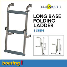 3 Steps Long Base Folding Boat Ladder Stainless Steel - Oceansouth