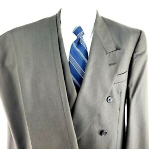 Hart Schaffner Marx 40S Double Breasted 2 Piece Suit Gray Wool Pleated 35/29