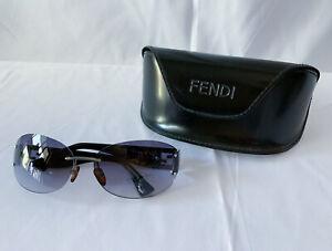 Fendi Women's Sunglasses FS480 62 Vintage 00s Black Frames Gray Oval Lens Italy