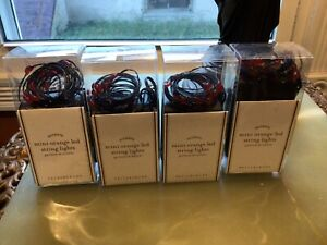 4 Pottery Barn Mini Led Orange String Lights Blk. Wire Battery Operated - NEW