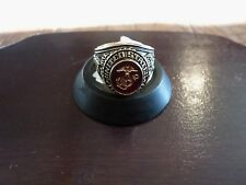 MARINE CORPS MILITARY GOLD RING RUBY CRYSTAL INLAY 18K ELECTROPLATE SIZE 10