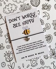 Don't Worry Bee Happy Wish String! Bee Wish Bracelet! UK Seller BUY 5 GET 1 FREE