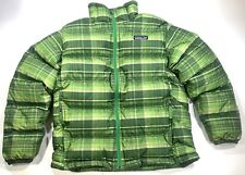 Patagonia Green Plaid Goose Down Puffer Jacket Sweater Coat Boys M 10 Youth