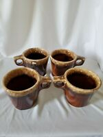 4 Vintage Hull Brown Drip Pottery Mugs USA Oven Proof Set Lot of