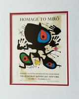 Joan Miro Homage To Miro Exhibition Poster Print Matted Offset Lithograph 1980