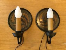 Pair Circa 1930 Frank J. Forster Bronze & Copper Tudor Revival Wall Sconces