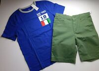 NWT Gap Boy's 2 Pc Outfit Italy T-Shirt/Khaki Shorts XXL(14-16) New Free Ship