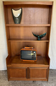 Retro Teak Wall Unit With Tv Table - William Lawrence - Bookcase - Vintage