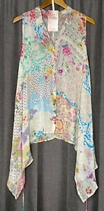 Johnny Was Floral Printed Rayon Arched Hem Sleeveless Blouse S Boho Butterfly