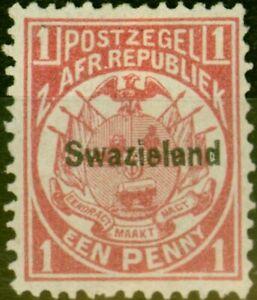Swaziland 1889 1d Carmine SG1 Fine Unused