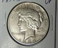 1934-S Peace Silver Dollar VF San Francisco Mint (3220)