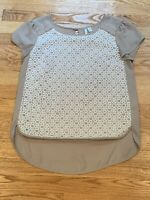 Lauren Conrad Women Gray Grey White Lace Scoop Short Sleeve Blouse Size Small