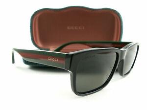 Gucci Sunglasses GG0340S 002 Black Multicolor Gray Polarized New Authentic