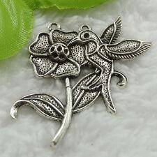Free Ship 52 pieces tibet silver flower bird pendant 49x44mm #666