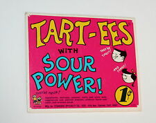 Standard SpecialtySour Tart-ees Candy Gum Machine Vending Display Card 1960s New