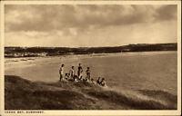 Guernsey Insel England Postcard ~1920/30 Vazon Bay Strandpartie Meer Personen
