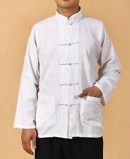 white Chinese Men's cotton/linen Kung Fu T-Shirt Tops  Sz:M L XL XXL