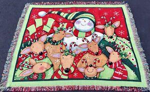 Deer Friends Jolly Reindeer & Snowman Christmas Tapestry Afghan Throw