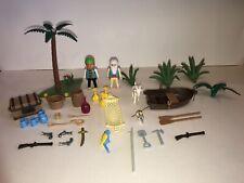 PLAYMOBIL 3799 TREASURE ISLAND Pirates Row Boat Treasure Chest Guns Barrel Goat+