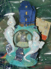 Spooky Ghosts Snow Globe Halloween Water Ball Grave Stones Bat Haunted House Boo