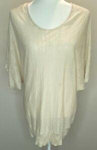 Eileen Fisher 100% Linen Top Tan Beige Semi Sheer Stretch Knit Dolman Sleeves M