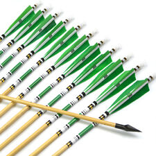"""AF 12pcs 31"""" 5""""Turkey feathers wood arrows for Hunting recurve bow or longbow"""