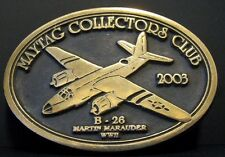2003 Maytag Collectors Club B29 Martin Marauder WWII Airplane Brass Belt Buckle