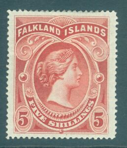 SG 42 Falklands 1898. 5/- red. A fine mounted mint example. Good colour &...