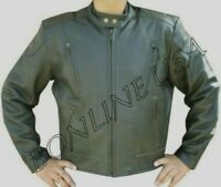 Small Size Men's Leather Jacket Motorcycle Vented Biker Vented Jacket New
