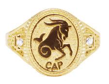 Men's Real 10K Yellow Gold Capricorn Lucky Horse Zodiac Designer Pinky Ring