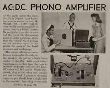 4 watt Amplifier Tube powered 1943 How-To build Plans Ac-Dc