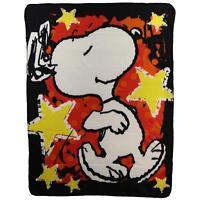 Peanuts Snoopy Star Treatment Stars Red Gold Fleece Blanket Throw NEW