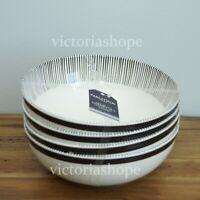 NEW NAUTICA HOME Melamine Salad Bowls ~ Set of 4 ~ Ivory White/Black Stripe