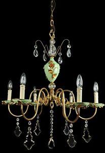 Unusual Large Vintage Italian 6 Arm Porcelain & Brass Crystal Chandelier Light